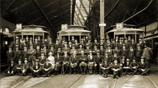 NMETL officers and staff at Essendon depot, post WWI. Photograph TMSV archive.